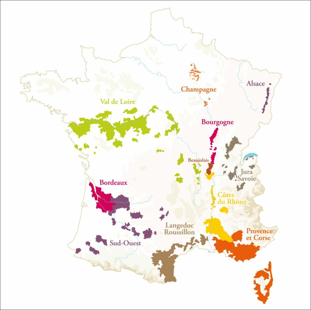 Carte de France des vins AOC